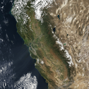 Low levels of snow over the Sierra Nevada mountains in 2015