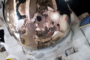 Cmdr. Scott Kelly takes a selfie while spacewalking